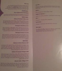 Beverages list