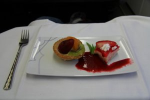 Desert - Strawberry cake, Fruit tart and Raspberry Coulis