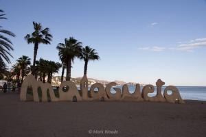 Malagueta sign on the beach