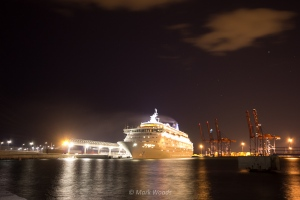 Cruise ship in the Port of Malaga preparing to leave